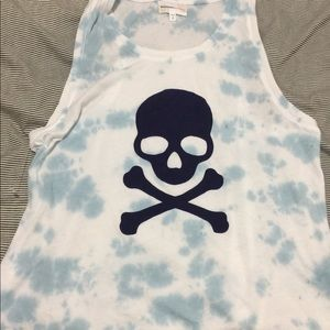 SoulCycle sundry blue tie dye skull tank top small